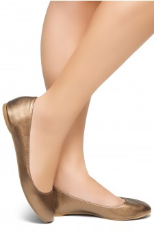 HerStyle New Memory-2 -Round Toe, No detail, Ballet Flat (RoseGold)
