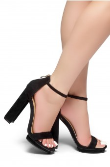HerStyle NEW VIEW-Open Toe Chunky Heel Ankle Strap Sandals (Black)