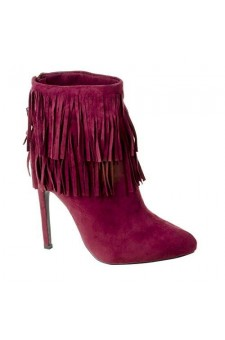 Women's Burgundy Manmade Newpport 4.5-inch Heeled Bootie with Double Layer of Fringe
