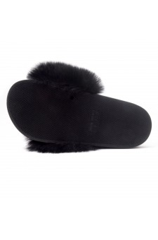 Shoe Land NIKINI Womens Fur Slides Fuzzy Slippers Fashion Fluffy Comfort Flat Sandals(2020 BLK/BLK)