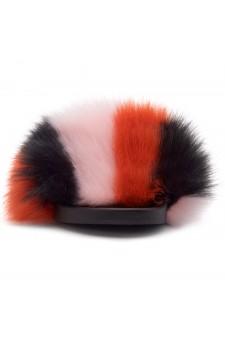 Shoe Land NIKINI Womens Fur Slides Fuzzy Slippers Fashion Fluffy Comfort Flat Sandals(2020 BlackPinkMulti)