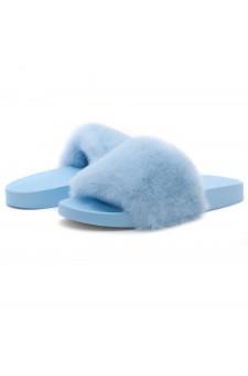 Shoe Land NIKINI Womens Fur Slides Fuzzy Slippers Fashion Fluffy Comfort Flat Sandals(2020 Blue/Blue)