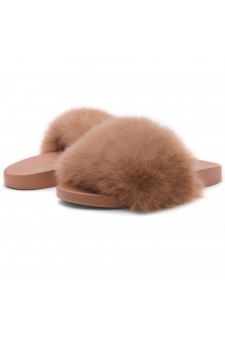 Shoe Land NIKINI Womens Fur Slides Fuzzy Slippers Fashion Fluffy Comfort Flat Sandals(2020 Camel/Camel)
