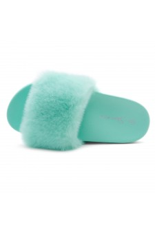 Shoe Land NIKINI Womens Fur Slides Fuzzy Slippers Fashion Fluffy Comfort Flat Sandals(2020 Teal/Teal)