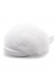 Shoe Land NIKINI Womens Fur Slides Fuzzy Slippers Fashion Fluffy Comfort Flat Sandals(2020 White/White)