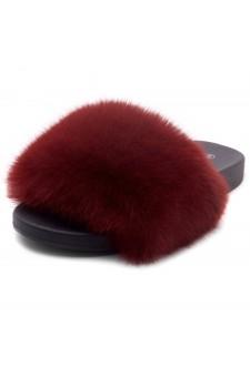 Shoe Land NIKINI Womens Fur Slides Fuzzy Slippers Fashion Fluffy Comfort Flat Sandals(2020 Wine/Black)