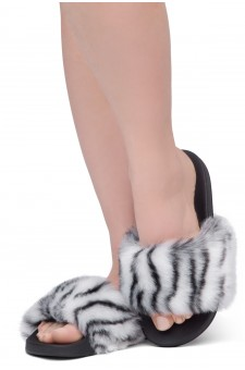 Shoe Land NIKINI Womens Fur Slides Fuzzy Slippers Fashion Fluffy Comfort Flat Sandals(2020 Zebra/Black)