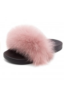Shoe Land NIKINI Womens Fur Slides Fuzzy Slippers Fashion Fluffy Comfort Flat Sandals(MAU/BLK)