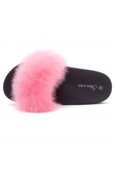 Shoe Land NIKINI Womens Fur Slides Fuzzy Slippers Fashion Fluffy Comfort Flat Sandals(Pink/Black)