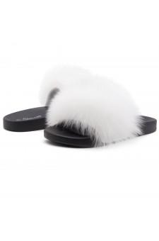 Shoe Land NIKINI Womens Fur Slides Fuzzy Slippers Fashion Fluffy Comfort Flat Sandals(WHT/BLK)
