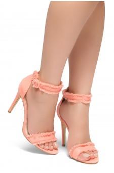 HerStyle NIKOLETTE-Stiletto heel, distressed details, Ankle strap (Pink DN)