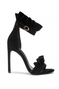 HerStyle Nillia Florence Frill Detail Heel in Maroon Faux Suede(Black)