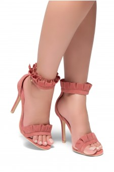 HerStyle Nillia Florence Frill Detail Heel in Maroon Faux Suede(Blush)