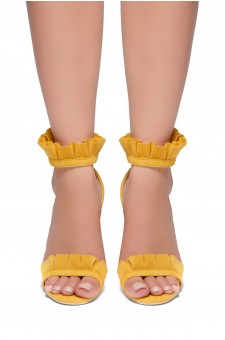 HerStyle Nillia Florence Frill Detail Heel in Maroon Faux Suede(Yellow)
