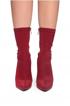 HerStyle Noassa Pointed toe, stiletto heel, sock Boot style (Burgundy)