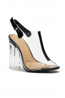 HerStyle Women's  Manmade Noeellaa  Chunky Perspex Heel Sling back Mules - Black/Black