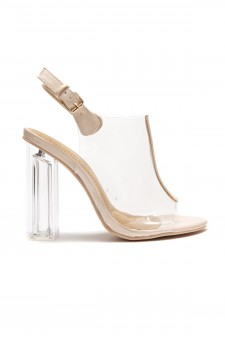 HerStyle Women's  Manmade Noeellaa  Chunky Perspex Heel Sling back Mules - Clear/ Mauve