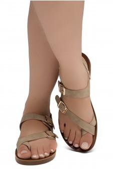 Shoe Land Women's Manmade NOLITA(SL)- Flat Sandal with buckle accents(1831/D.Beige)