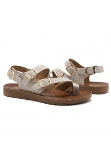 Shoe Land Women's Manmade NOLITA(SL)- Flat Sandal with buckle accents(1831/Nude)