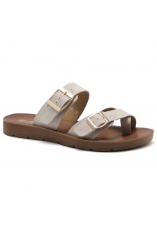 ShoeLand Women's Manmade NOLITA(SL) - Flat Sandal with buckle accents(Beige)