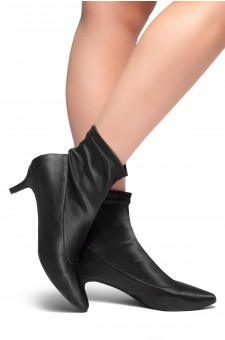 HerStyle Norell-Kitten Heel Ankle Sock Boot  (Black)