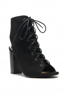 HerStyle Norrii Lace up Cutout Booties (Black)