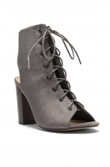 HerStyle Norrii Lace up Cutout Booties (Grey)
