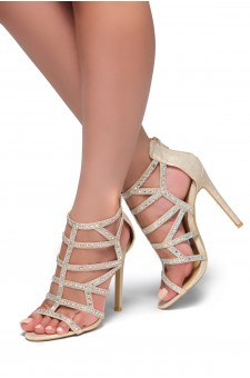 HerStyle Norta-Jewel embellishments, stiletto heel (Rose Gold)