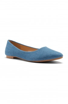 HerStyle Women's Manmade Nstaffno Simple Faux Suede Pointy Toe Flats (Blue DM)