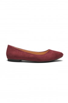 HerStyle Women's Manmade Nstaffno Simple Faux Suede Pointy Toe Flats - Burgundy