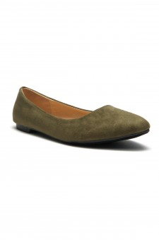 HerStyle Women's Manmade Nstaffno Simple Faux Suede Pointy Toe Flats - Olive