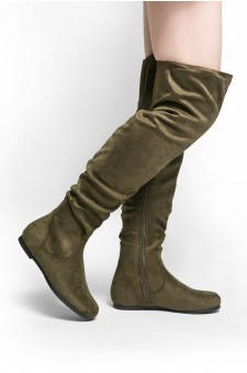 HerStyle Odessa Women's Fashion-Hi Over-the-Knee Thigh High Flat Slouchy Shaft Low Heel Boots (Olive)