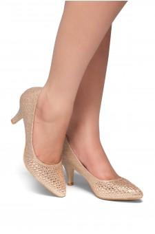 HerStyle Olivarra-Kitten heel, jeweled embellishments(Rose Gold)