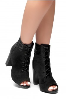 HerStyle On Da Block- a peep toe, chunky heel booties (Black)