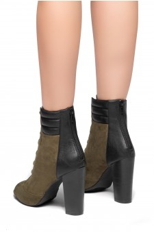 HerStyle On Da Block- a peep toe, chunky heel booties (Olive)