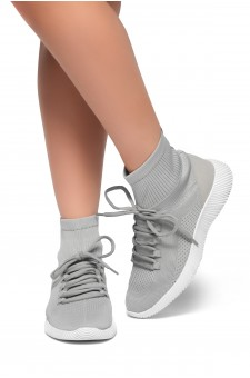 HerStyle Onefour-Knit Fitted Sock Sneakers(Grey)
