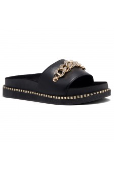 Shoe Land ORA-Open Toe Slide Sandal with Rhinestone Metallic Chain Accent (Black)