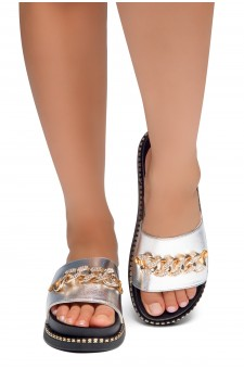 HerStyle ORA-Open Toe Slide Sandal with Rhinestone Metallic Chain Accent (Silver)