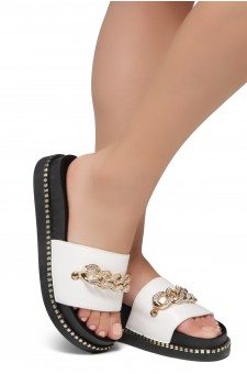 Shoe Land ORA-Open Toe Slide Sandal with Rhinestone Metallic Chain Accent (White)
