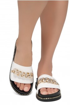 Shoe Land ORA-Open Toe Slide Sandal with Rhinestone Metallic Chain Accent (White)