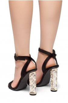 HerStyle Out Shine-Perspex heel, Open Toe, Ankle Strap Sandals (Black)