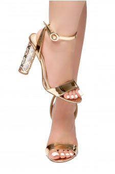 HerStyle Out Shine-Perspex heel, Open Toe, Ankle Strap Sandals (RoseGold)