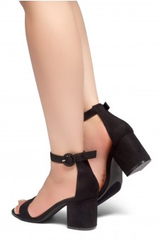 HerStyle OUT SHINING- Ankle Strap, Buckled, Open Toe, Block Heel (Black)