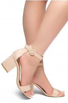 HerStyle OUT SHINING- Ankle Strap, Buckled, Open Toe, Block Heel (Nude)