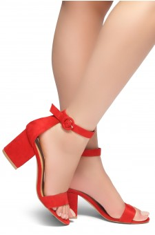 HerStyle OUT SHINING- Ankle Strap, Buckled, Open Toe, Block Heel (Red)