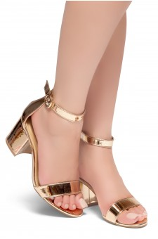 HerStyle OUT SHINING- Ankle Strap, Buckled, Open Toe, Block Heel (RoseGold)