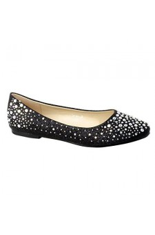 Women's Black Manmade Pallas Studded Pump Flat with Glittering Beads