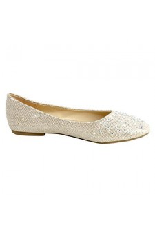 Women's Gold Manmade Pallas Studded Pump Flat with Glittering Beads