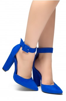 HerStyle PEAK HOUR-Close Pointed Toe Chunky Heel Ankle Strap Sandals (RoyalBlue)