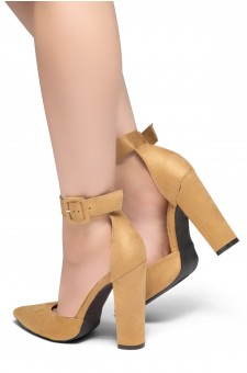 HerStyle PEAK HOUR-Close Pointed Toe Chunky Heel Ankle Strap Sandals (Tan)